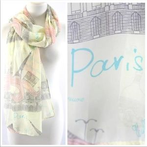 Accessories - Paris Eiffel Tower Ivory & Pink Scarf B31